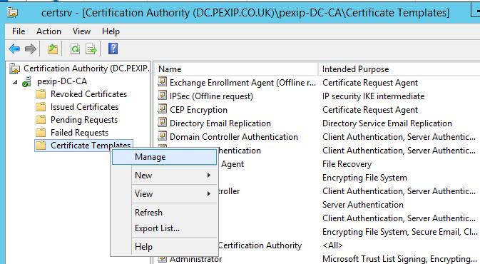 Web Server Certificate Template